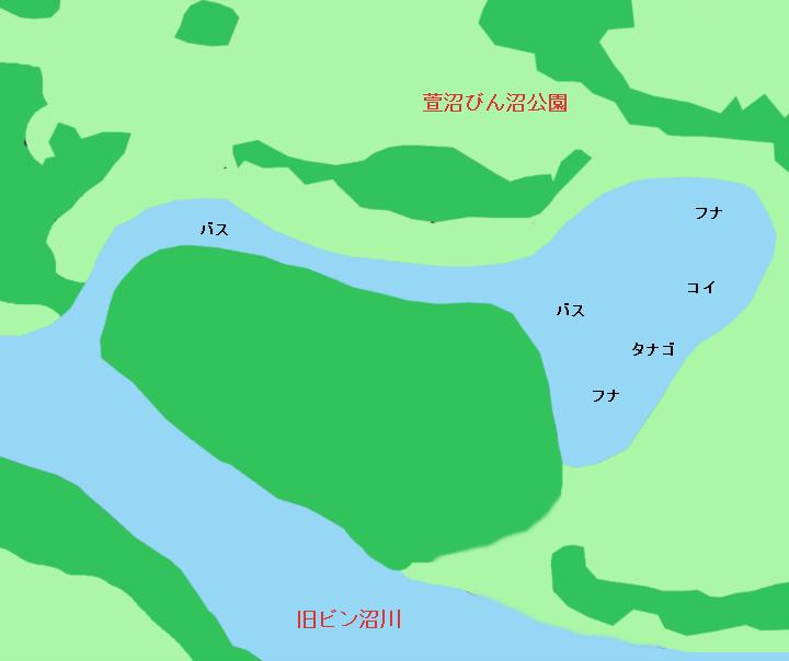 ビン沼のポイント 旧びん沼川・萱沼びん沼公園周辺