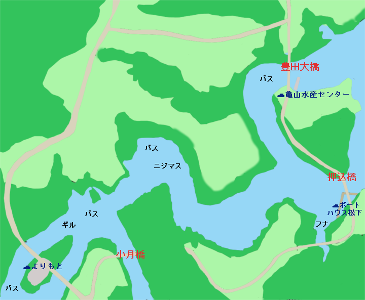 亀山ダム小月橋~押込橋・豊田大橋周辺のポイント