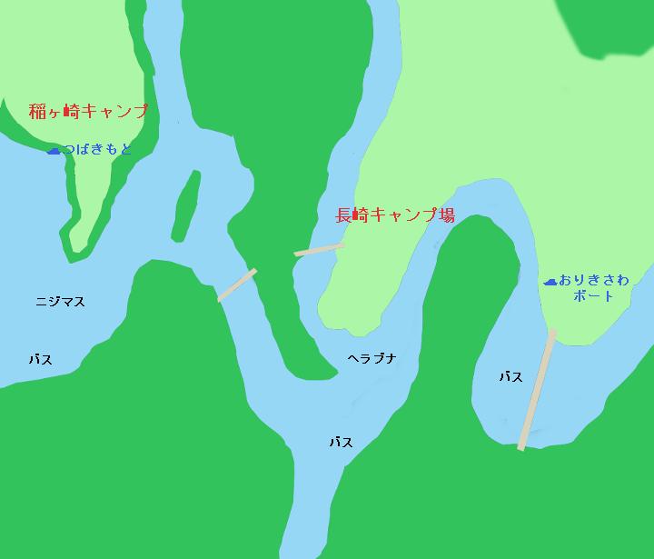 亀山ダム稲ヶ崎キャンプ・長崎キャンプ場付近のポイント