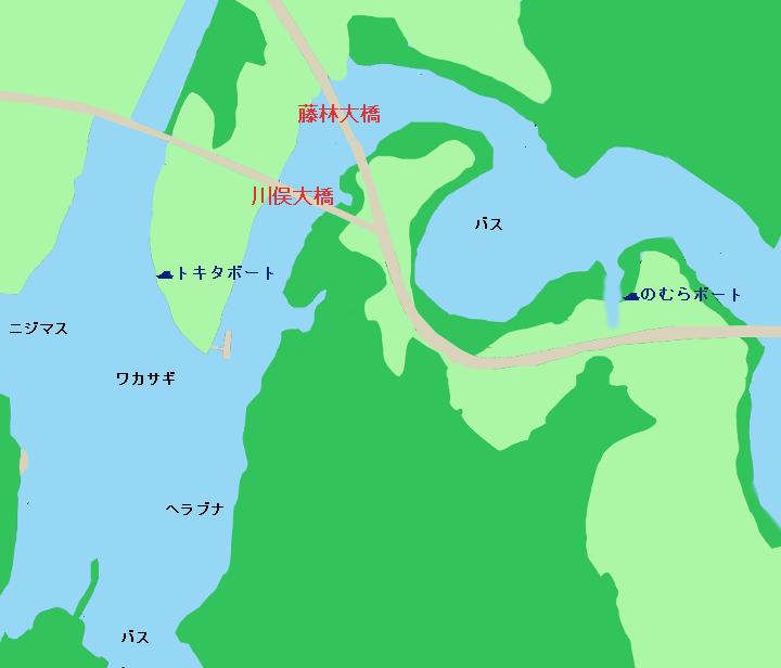 亀山ダム中央部のポイント