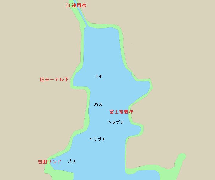 砂沼のポイント 江連用水流れ込み周辺