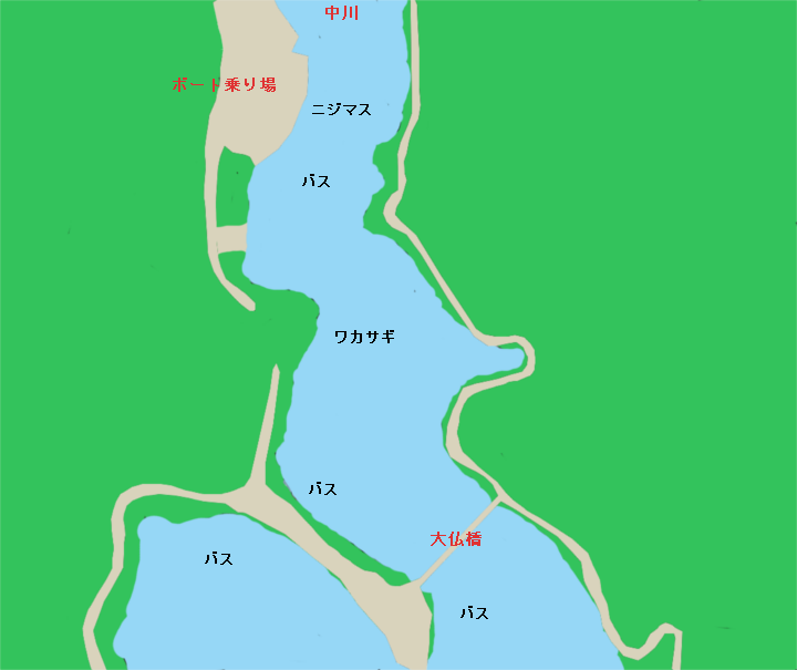丹沢湖 中川流れ込み天大仏橋付近のポイント