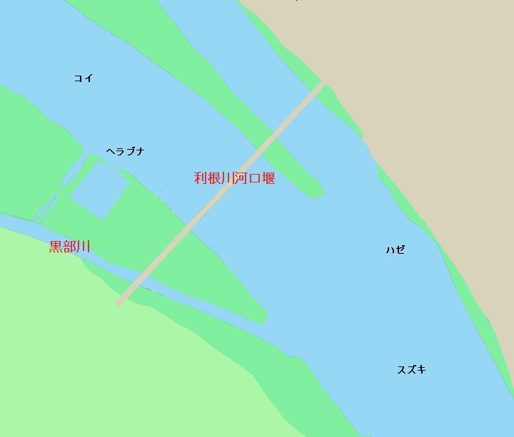 利根川河口堰付近のポイント(茨城県神栖市、千葉県香取市)