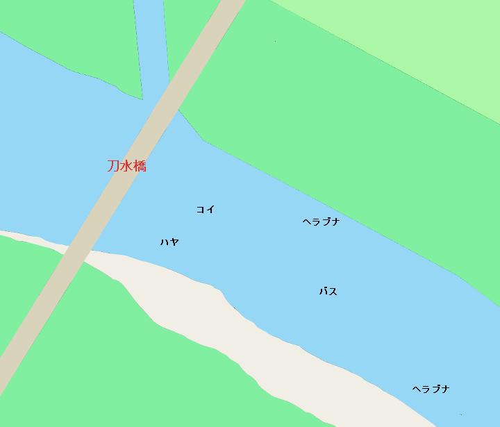 利根川刀水橋周辺のポイント(埼玉県熊谷市、群馬県太田市)