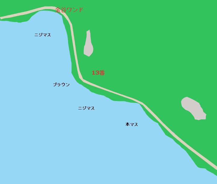 中禅寺湖のポイント 金谷ワンド、13番、だるま石、ポンプ小屋周辺