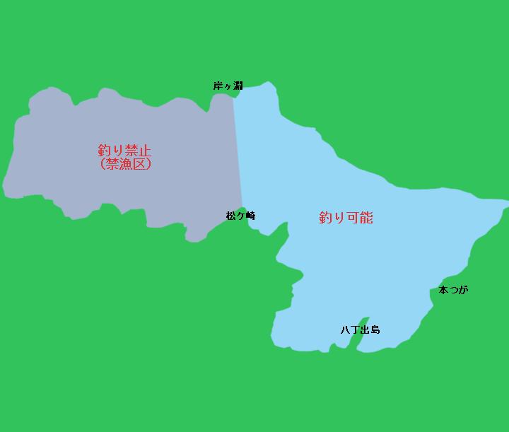 中禅寺湖全景 釣り可能エリア、禁止エリア