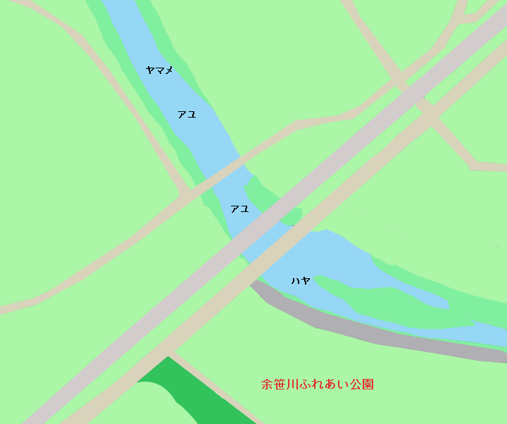 余笹川ふれあい公園付近のポイント