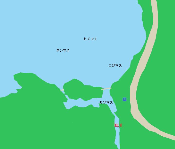 湯ノ湖湯川流れだし付近のポイント