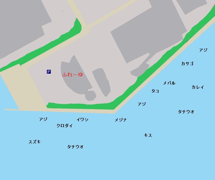 鶴見川河口(ふれーゆ裏)ポイント図