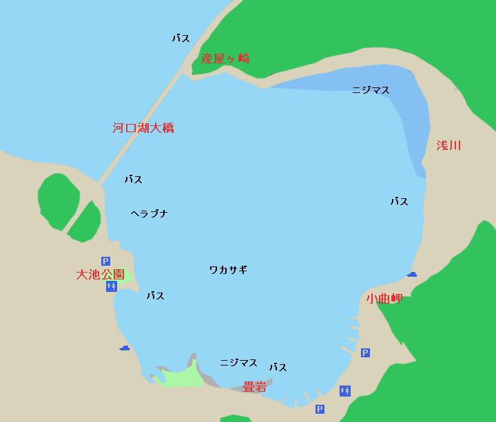 河口湖のポイント 河口湖大橋・ロイヤルワンド・畳岩…産屋ヶ崎周辺