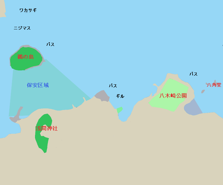 河口湖のポイント 八木崎公園・鵜の島・保安地区周辺