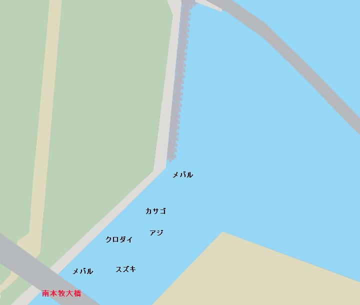 かもめ町岸壁・南本牧大橋周辺ポイント図