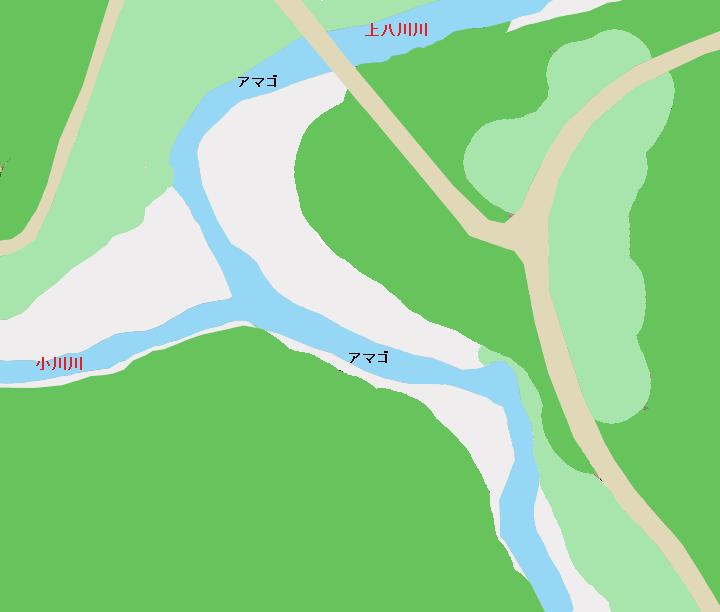 上八川川・小川川合流付近のポイント(支流)