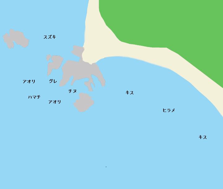 富田浜・大間磯ポイント図