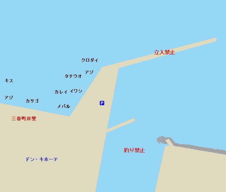 大津港・三春町岸壁(ドンキ裏)ポイント図