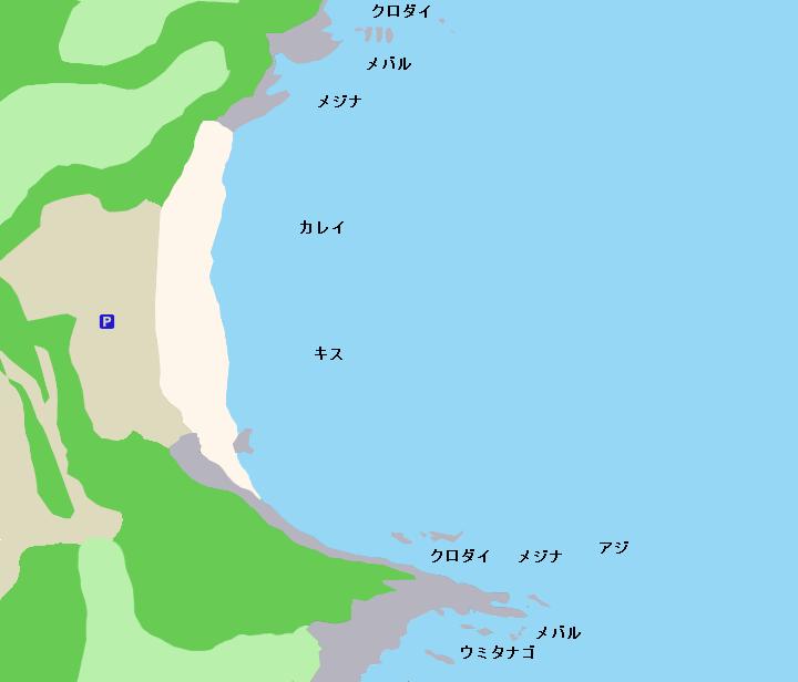 大浦海岸・火ヶ崎ポイント図