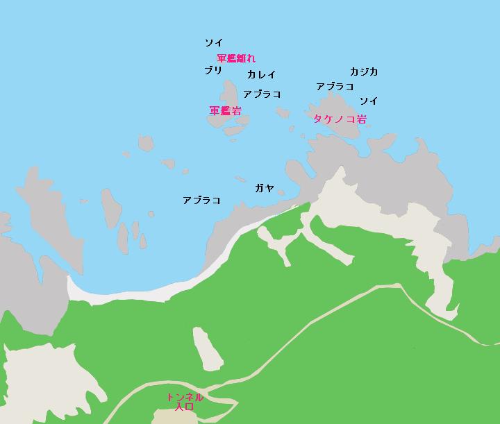 島武意海岸のポイント