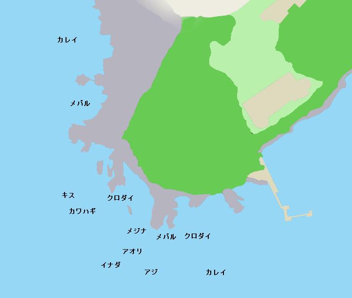 油壷東大臨海実験所下の磯ポイント図