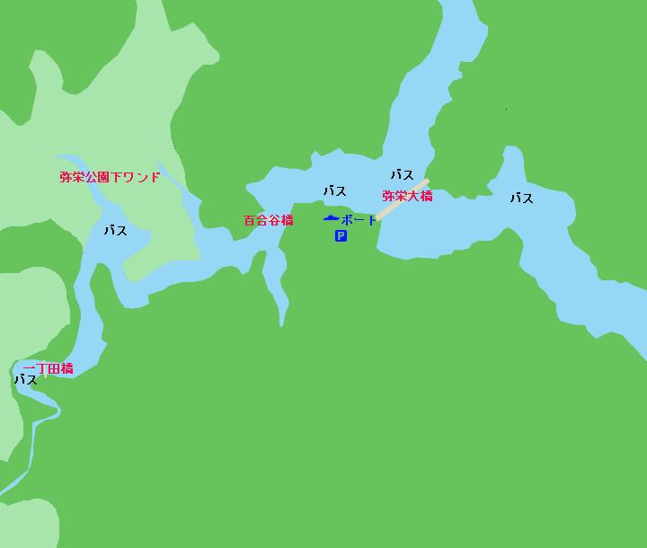 弥栄湖ポイント図