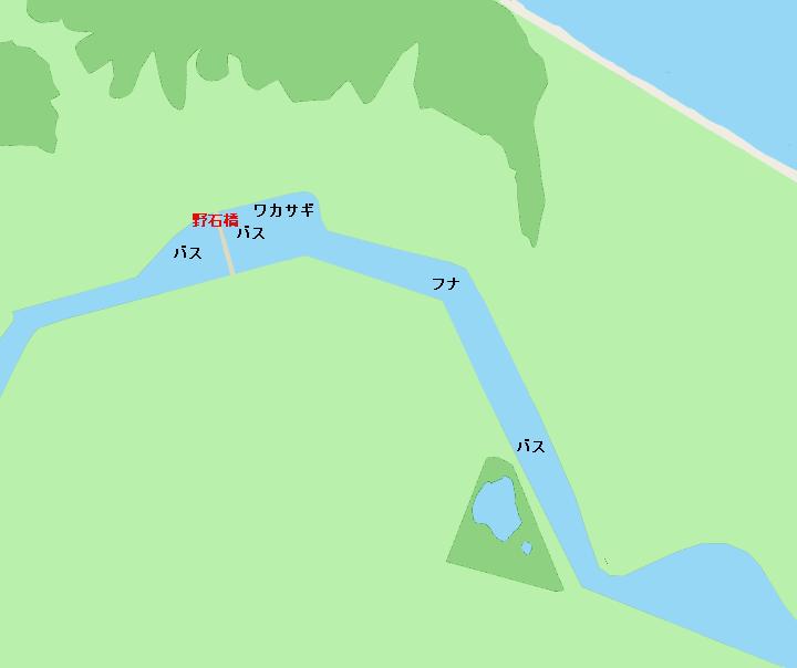 八郎潟西部承水路野石橋周辺ポイント図