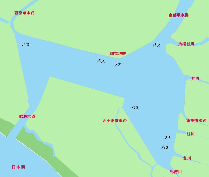 八郎潟調整池ポイント図