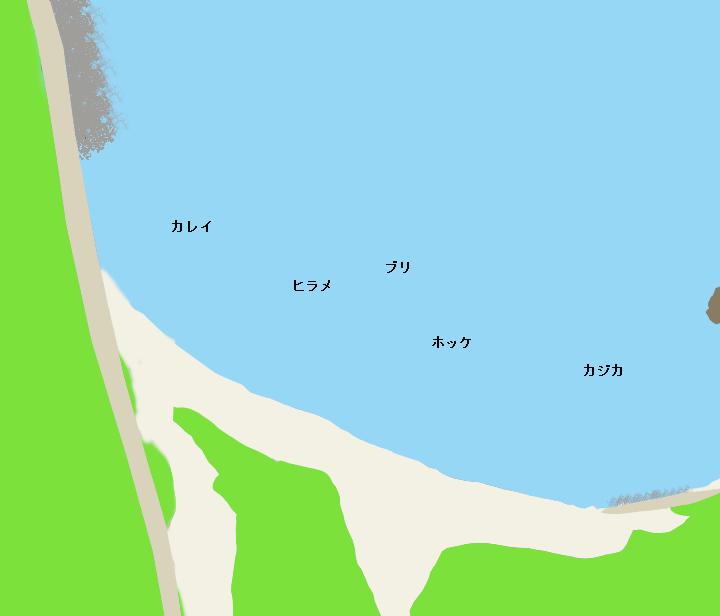 奥尻島幌内海岸ポイント図