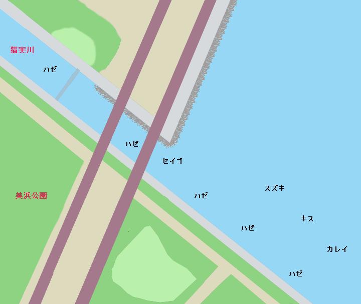 美浜公園周辺・猫実川河口ポイント図