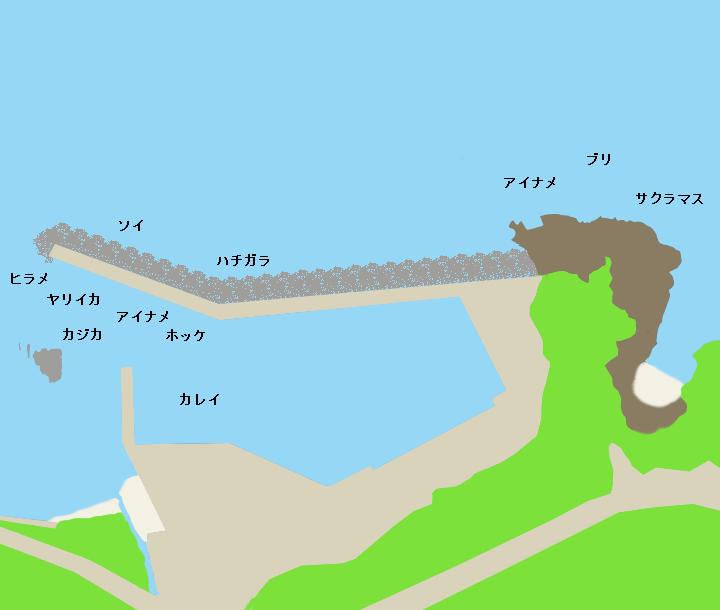 奥尻島宮津漁港ポイント図