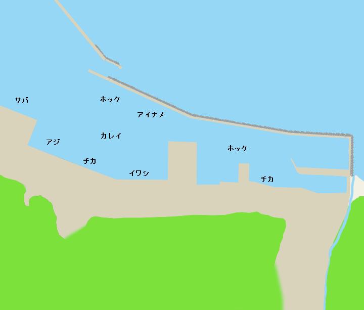 奥尻島奥尻港ポイント図