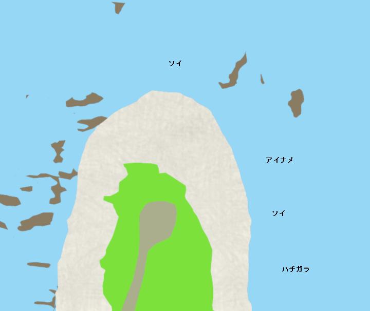 奥尻島賽の河原ポイント図