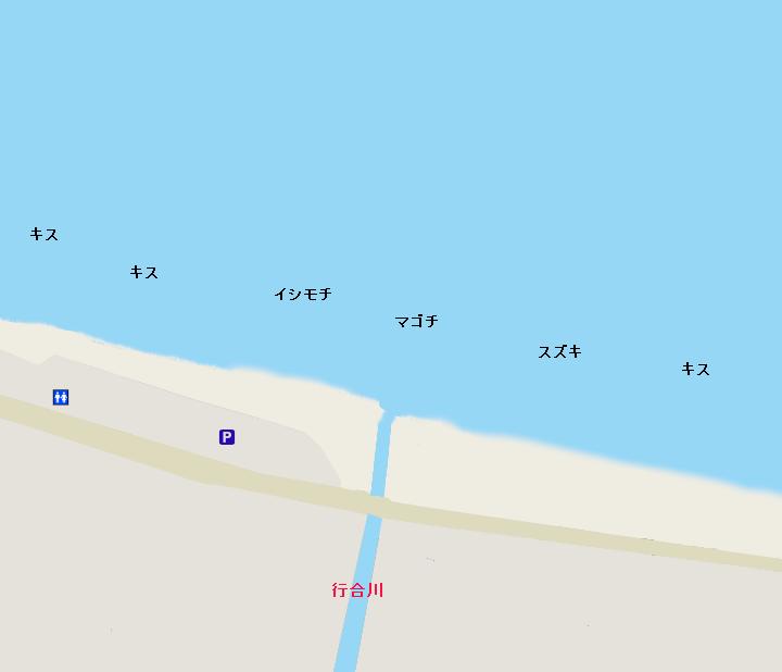 七里ヶ浜ポイント図(行会川河口付近)