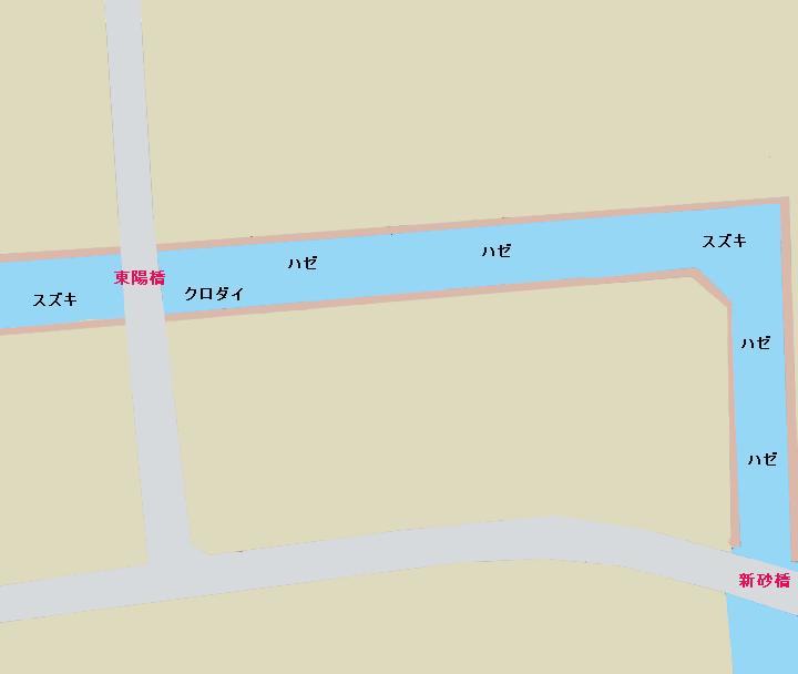 汐浜運河(東陽橋-新砂橋)ポイント図