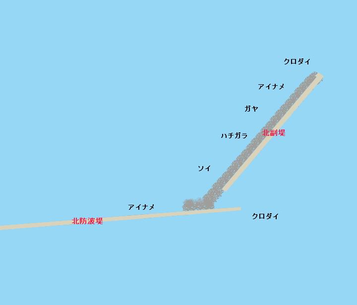 函館港沖堤防(北防波堤)ポイント図