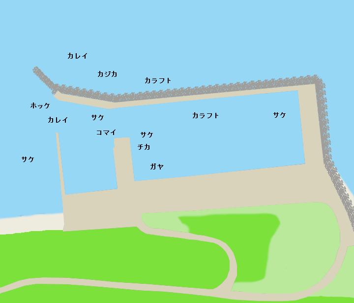 知布泊漁港(日の出漁港)ポイント図