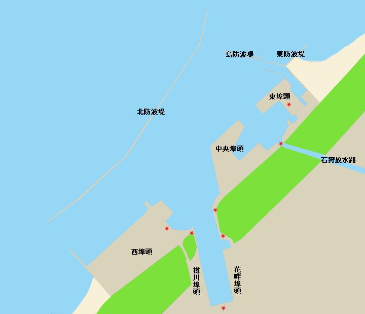 石狩湾新港(全体図、釣り可能ポイント)