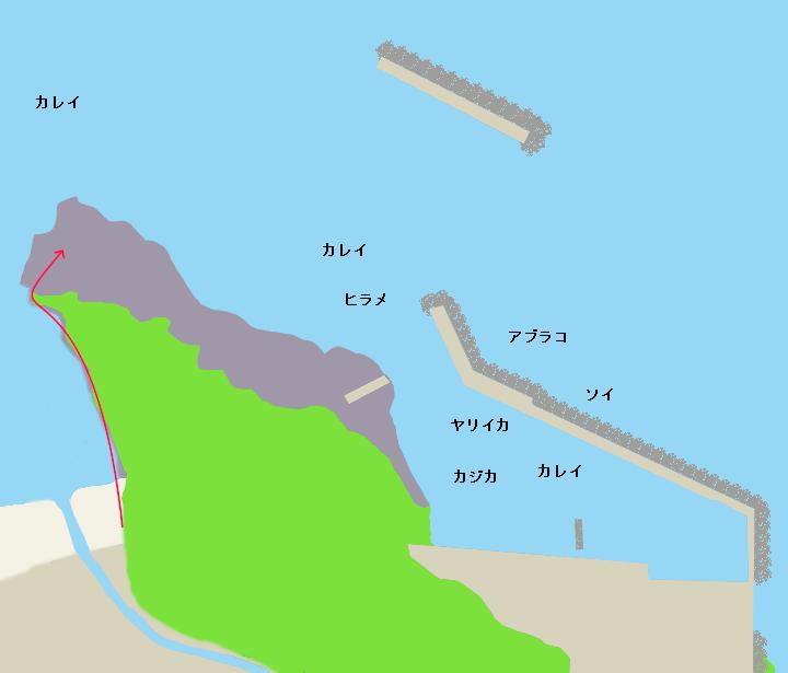 岩部漁港ポイント図
