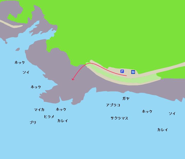 兜千畳敷ポイント図(ホッケ、ヒラメ、カレイ、根魚、イカ、サクラマス、ブリ)