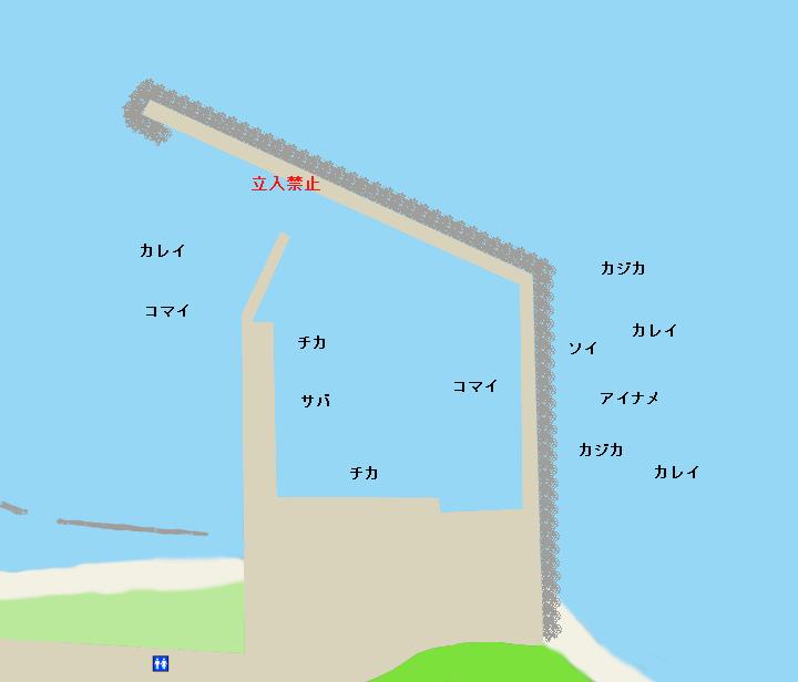 古潭漁港ポイント図
