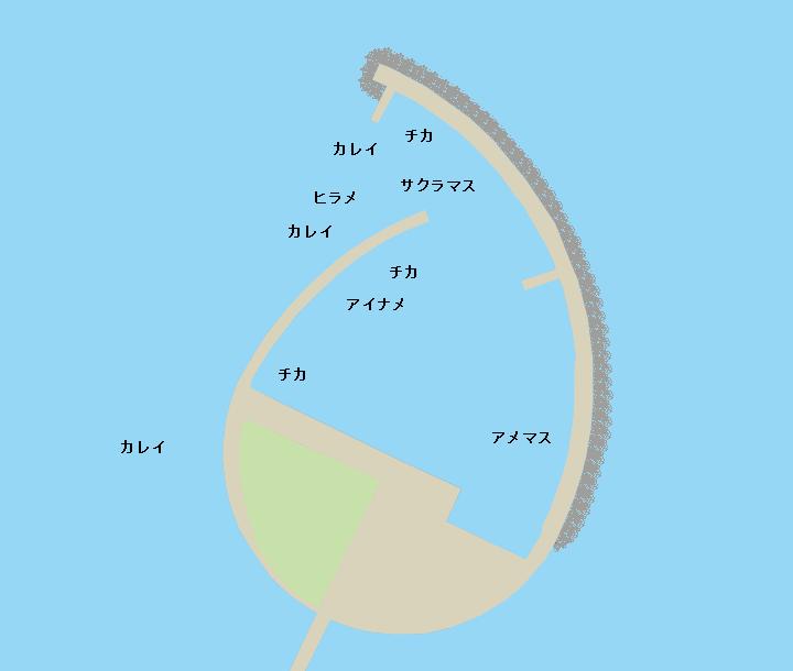 国縫漁港ポイント図
