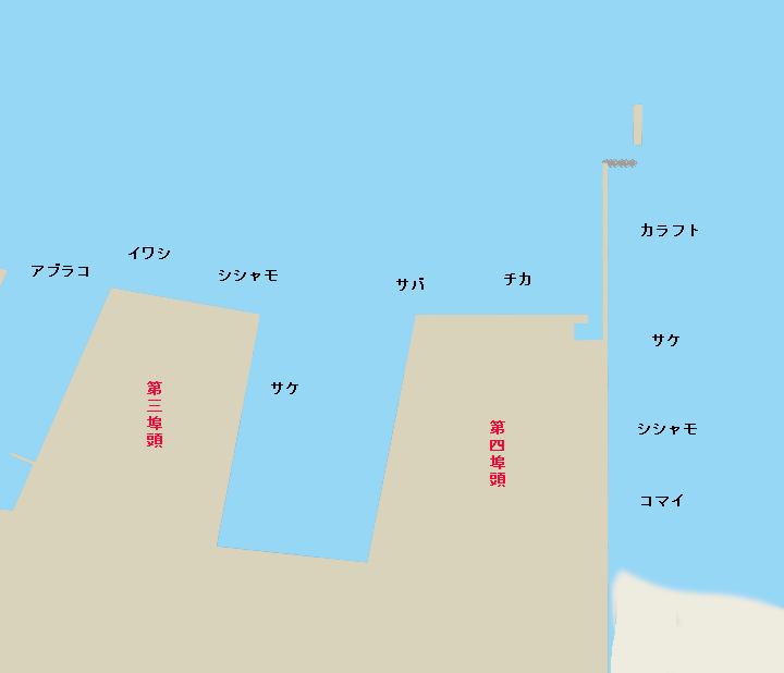 釧路西港第三埠頭・第四埠頭ポイント図
