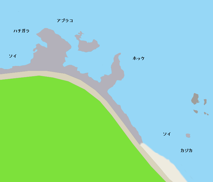 オコツナイ海岸ポイント図