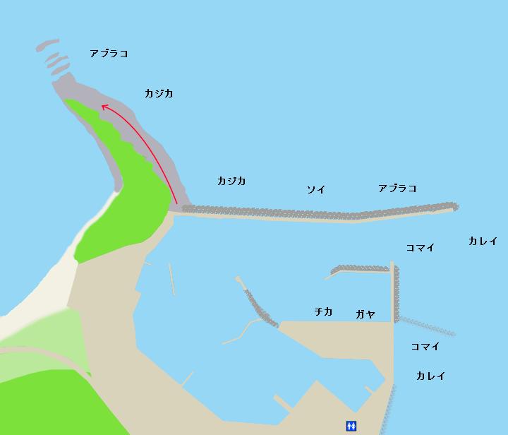 様似漁港・エンルム岬ポイント図