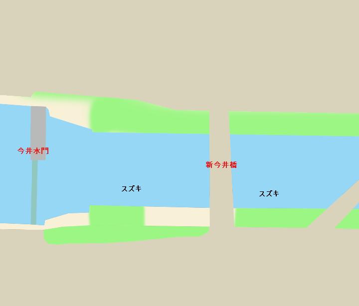 新中川今井水門・新今井橋周辺ポイント図