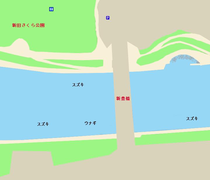 隅田川新豊橋・新田さくら公園周辺ポイント図