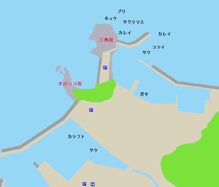 ウトロ漁港・三角岩ポイント図