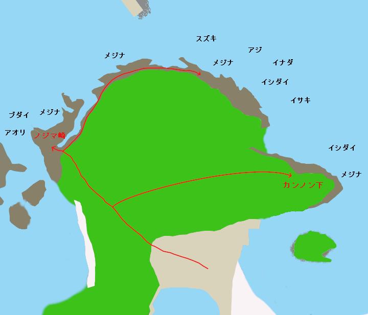 赤根島ポイント図
