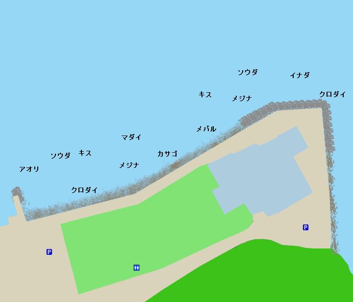 南熱海マリンホール裏ポイント図