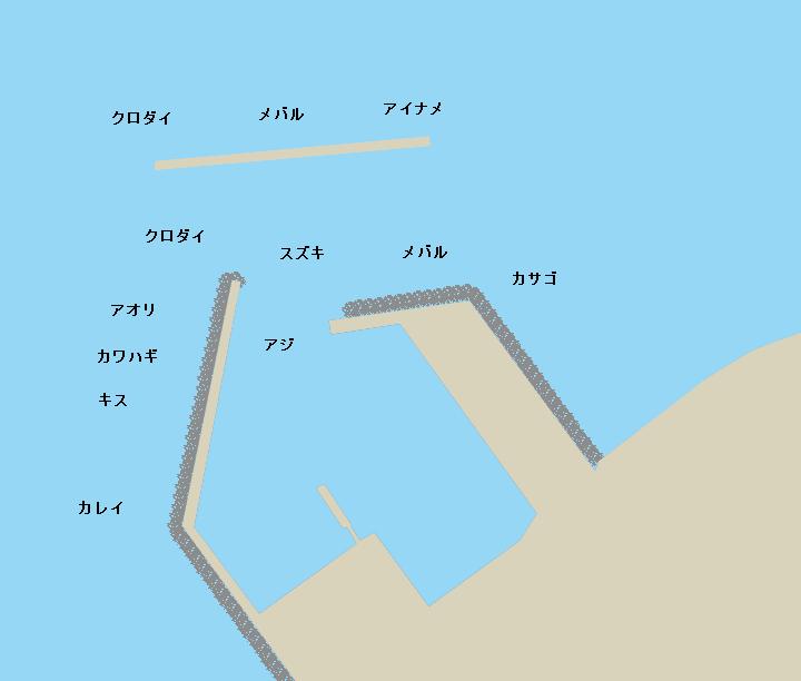 日間賀島東港ポイント図