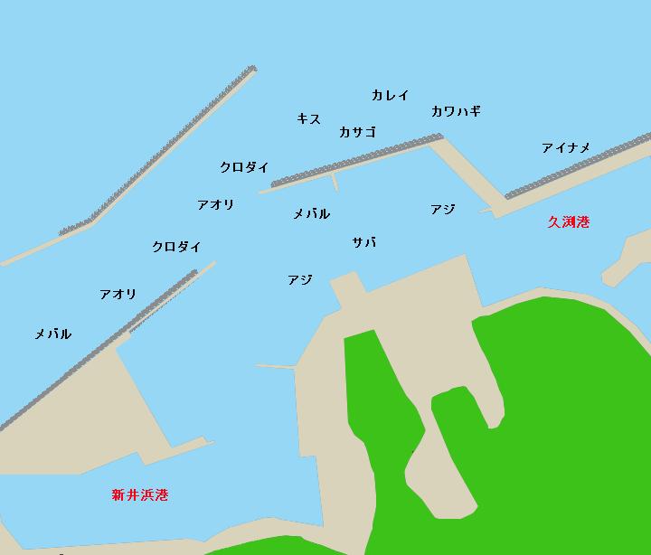 日間賀島北港(新井浜港・久渕港)ポイント図