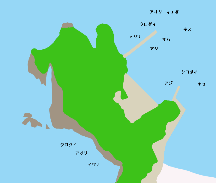 岩地港・日和山ポイント図